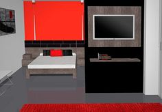 En este dormitorio tenemos una columna que hacemos que se pueda separar un poco el espacio que tenemos, hay una pared apoyada en la columna haciendo de separador en la cual tenemos colgado un módulo de panel TV con luz por detrás también hay un estante con soportes ocultos debajo del panel TV donde poder poner alguna cosa.