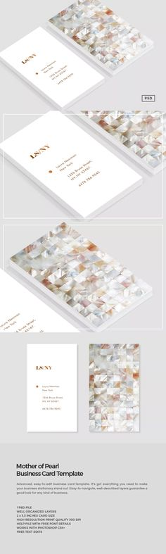 Mother of Pearl Business Card Template PSD