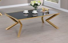 Shop Coaster Furniture Gold Coffee Table with great price, The Classy Home Furniture has the best selection of Cocktail Tables to choose from Coffee Table Rectangle, Glass Top Coffee Table, Coaster Furniture, Home Furniture, Cocktail Tables, Black Glass, Dining Bench, Coasters, Gold Accents
