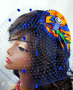 Blue African Kente Print Fascinator  - Ghana Wedding - African Headpiece - Ankara fascinator Hat  - Colorful Veil -  African Bird Cage Veil