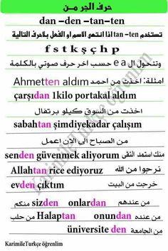 حرف الجر (من) في اللغة التركية Learn Turkish Language, Arabic Language, Turkish Lessons, Language Quotes, English, Calligraphy, Education, Learning, Math Equations