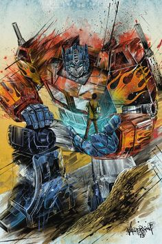 optimus prime, the great and only prime left in the universe. great and kind heart, and he would do anything for his team and humanity his voice is from Peter Cullen. Also, for bonus information, it was estimated that if optimus was human, he would be 35 years old. WHAAAAAT