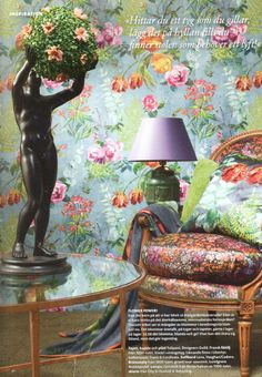 Designers Guild Tulipani wallpaper as seen in Gods & Godar, Sweden
