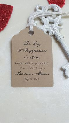 "Personalized Favor Tags 2.5""L x1.8""w Wedding tags, Thank You tags, Favor tags, Gift tags, Bridal Shower Favor Tags, key bottle opener"