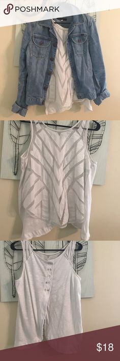 Free People top White cute size L! Free People White tank size large sheer with zig zag pattern  in some spots the back is semi open where the buttons stop can layer or be worn alone over a swim top super cute. 19 across high low style the size L fell off the tag. No flaws! Jacket Not for sale my fav sorry! Free People Tops Tank Tops
