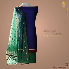 This midnight blue pure raw-silk kurta with maroon velvet border and dark green sequinned dupatta with a matching salwar is a combination that practically spells out style.   Click here to purchase now! http://www.buyit.cc/1256