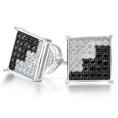 Bling Jewelry Sterling Silver Black and White CZ Mens Stud Earrings