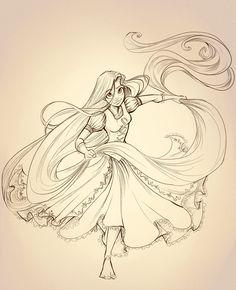 Rapunzel Lineart by sharpie91.deviantart.com
