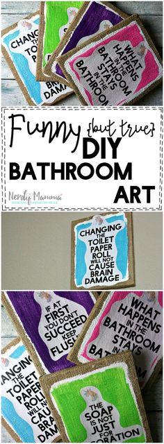 I LOVE these funny (but true) DIY bathroom art free printables. SO. CUTE! LOL!
