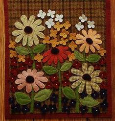 Wool applique brown plaid table runner penny rug candle mat