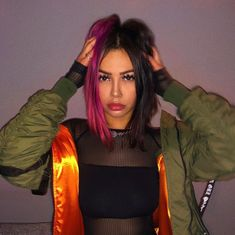 Untitled # fashionaccessories Half And Half Hair Color fashionaccessories fashioninfluencer fashionwanita ootdfashion Untitled Short Dyed Hair, Half Dyed Hair, Half And Half Hair, Dyed Hair Purple, Dyed Blonde Hair, Dye My Hair, Pink Hair Streaks, Blonde Brunette, Pink And Black Hair