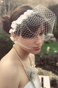 i love crystal's creation. from our shop, papersilkmade.etsy.com. #veil #birdcage #wedding $76.00