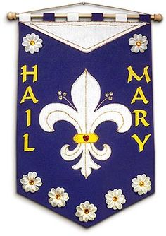 """This glorious kit contains everything you need to make one special """"Fleur de Lys"""" marian banner and will help your family celebrate every upcoming Marian feast day! The kit comes complete with: Pre… Catholic Store, Catholic Bible, Catholic Crafts, Catholic Kids, First Communion Banner, First Communion Gifts, Communion Banners, Felt Banner, Thing 1"""