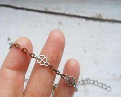 Flower clover necklace Clover choker Silver Copper $ 14.50