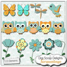 Baby Owls, Turquoise Orange for Baby Birthday Digital Clip Art for Scrapbooking, Card Making, Invites, Crafts,