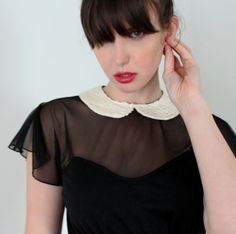 Peter pan collar dress - black babydoll with empire waist and sheer sleeves, 90's soft grunge vintage style dress - small on Etsy, $120.00
