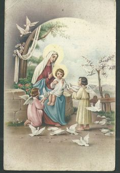 Postal antigua de la Virgen andachtsbild santino holy card santini | eBay