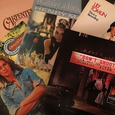 Tonight's thrifting adventure in Nashville yielded some great candy-coated rewards #vinylrecords #eltonjohn #olivianewtonjohn #carpenters #breakfastattiffanys #thriftstorefinds
