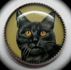 """VINTAGE BUTTON ~ SCARDY CAT SET IN WHITE METAL UNDER CLEAR PLASTIC DOME Great Cat Face Set in White metal with a Clear Plastic Dome cover...Measures 3/4"""" and  is in Excellent Condition  SOLD $26.00 on 3/17/2014"""