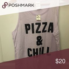 Pizza & Chill Tank Super comfy and the perfect motto for life! PINK Victoria's Secret Tops Tank Tops