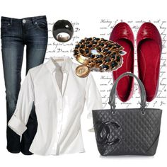 A fashion look from February 2009 featuring blue jeans, red flats and purse tote. Browse and shop related looks. Red Flats, Red Shoes, Look Fashion, Winter Fashion, Womens Fashion, Fashion 2018, Fashion Ideas, Style Me, Cool Style