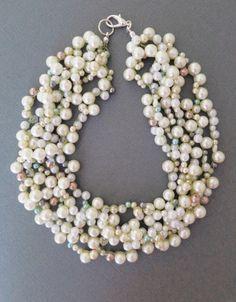 Chunky Wedding Necklace Wedding Pearl by PearlJewelryNecklace, $76.00