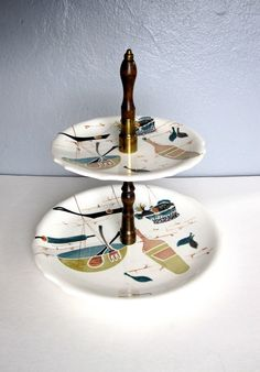 Vintage 50s Handpainted Tidbit Tray ATOMIC Style by urbancondition, $38.00