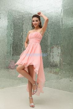 Mesmerizing sheath Strapless Tea-Length chiffon pink Cocktail Dress with Beading(ZJ5483)