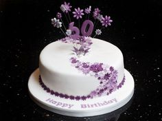 60th-Birthday-Cake-decorating-ideas Simple & effective... pink flowers & 80 obviously