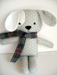 Fabric puppy dog plush toy stuffed puppy nursery by babydearest, $24.00