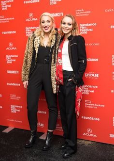 Pin for Later: Lily-Rose Dressed Just Like Johnny Depp at Her Sundance Film Premiere  She also posed with her equally fashionable costar Harley Quinn Smith, who wore a black jumpsuit and leopard coat.