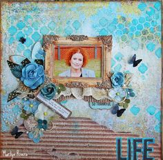 LIFE- My Creative Scrapbook June Limited Edition kit 2014 featuring Kaisercraft-Kaleidoscope and Prima Marketing Scrapbook Journal, Scrapbook Page Layouts, Scrapbook Pages, Scrapbooking Ideas, Smash Book Pages, Vintage Scrapbook, Album, Making Ideas, Projects To Try