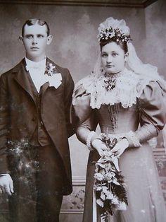 Beautiful Victorian Wedding Couple Gorgeous Dress Vail Antique Cabinet Photo | eBay