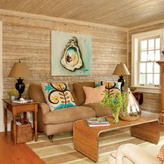 A natural seaside look gives this room a warm, welcoming glow.