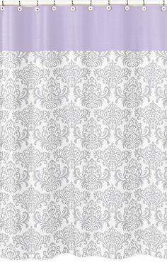 Elizabeth Lavender And Gray Damask Shower Curtain