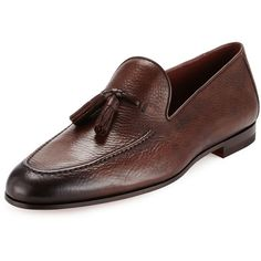 Neiman Marcus Pebbled Leather Tassel Loafer ($395) ❤ liked on Polyvore featuring men's fashion, men's shoes, men's loafers, brown, mens loafer shoes, mens slipon shoes, mens brown slip on shoes, mens slip on shoes and mens leather shoes