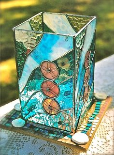 Stained Glass Lantern With Art Glass Mosiac Base - Sand Dollars On The Beach