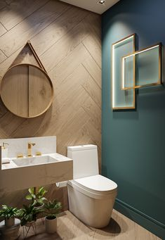 Powder rooms are usually pretty small and tough to design. Everybody has this small room and they don't know what to do with it and how to make it look good! I found 15 genius powder room ideas for you, so you can get inspired and ready to renovate! Wood Bathroom, Downstairs Bathroom, Modern Bathroom, Bathroom Green, Bathroom Ideas, Powder Room Decor, Powder Room Design, Powder Rooms, Bad Inspiration