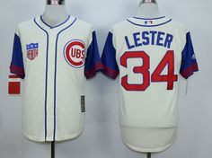 MLB CHICAGO CUBS #34 LESTER CREAM WHITE 1942 New Throwbacks Jersey