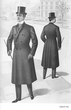 Romantic 1820-1850, outdoor garments for men; paletot (greatcoat), either single or double-breasted with a small flat collar and lapels