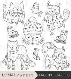 Cute Cat Clip Art Winter Cats Clipart Cute by LePetiteMarket