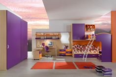Accecories and Furniture,Wonderful Kids Bedroom Design With Amazing Wallpaper Background Featuring Computer Table Set And Blaster Cabinet With Purple Under Drawer Bed,Captivating Kids Bunk Beds Furniture Design For Bedroom