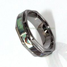 Octagon Shaped Tungsten Ring Band with Iridescent Abalone Pearl Shell Inlay  #PremiumTungsten