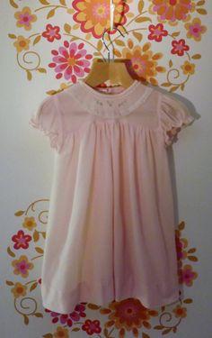 Vintage 1950s Baby Girls Pink Dress