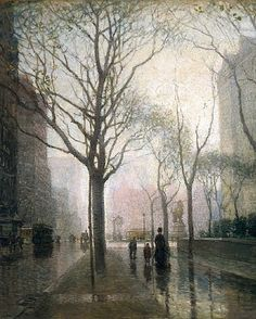 THE PLAZA AFTER RAIN OIL PAINTING BY PAUL CORNOYER ART REAL CANVAS GICLEE PRINT #Realism