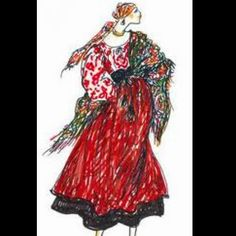 """Yves Saint Laurent sketch from the """"Russian """"Collection of 1976"""