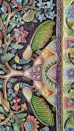 Kerala Mural Painting, Tanjore Painting, Easy Canvas Painting, Indian Art Paintings, Tree Of Life Artwork, Tree Of Life Painting, Clay Wall Art, Mural Wall Art, Murals