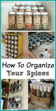Lots of great Spice Cupboard Organization Ideas!