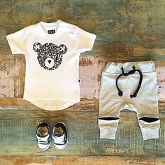 BABY • Huxbaby organic alpha bear tee, Minti hidden knee trackies & Converse infant Chuck Taylor prewalker baby shoes. All available at Tiny Style in Noosa & online • www.tinystyle.com.au