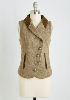 Menswear Inspired, Scholastic Mid-length Sleeveless Tweed-ing Lady Vest from ModCloth. Tweed Waistcoat, Wool Vest, Winter Trends, Blazers For Women, Black Blazers, Cool Outfits, Menswear, My Style, Curvy Style